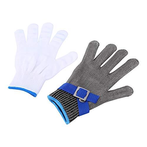 Guantes anticortes de acero inoxidable, malla metálica de acero inoxidable, grado 5, con guantes blancos de algodón, talla M