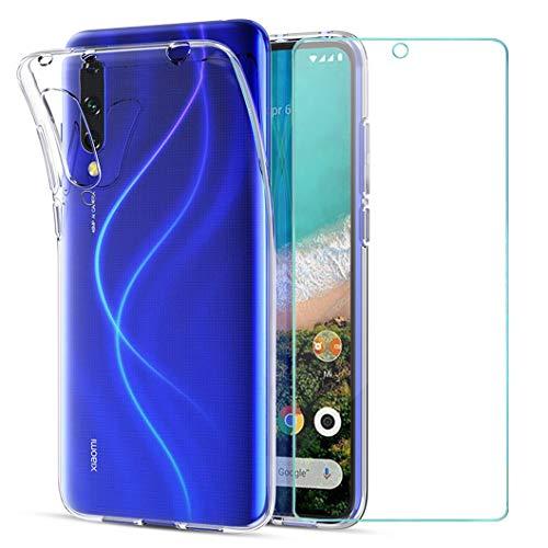 Wanxideng - Funda para Xiaomi Mi A3 + Protectores de Pantalla in Cristal Templado, Carcasa Suave Delgado Claro Funda de Silicona TPU - Transparente