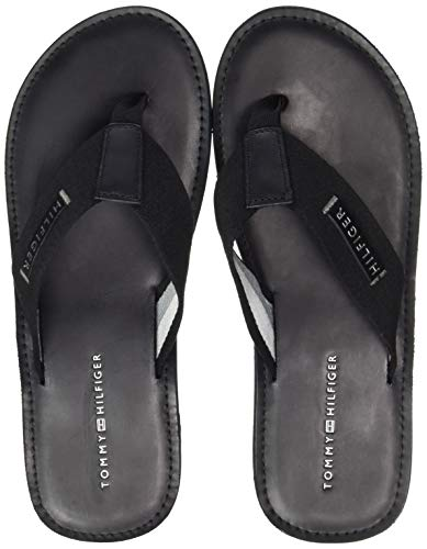 Tommy Hilfiger Herren ELEVATED LEATHER BEACH SANDAL Zehentrenner, Schwarz (Black 990), 40 EU
