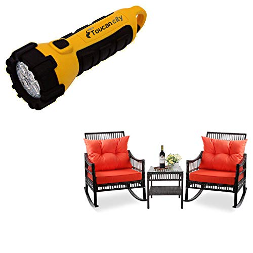 Toucan City LED Flashlight and VEIKOUS Dark Brown Outdoor Patio Wicker Rocking Chair Set with Orange Cushions HW007