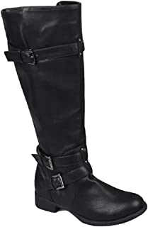 Ivay Womens Knee High Riding Boots Winter Calf Low Heel Chunky Hunter Combat Boot with Buckles