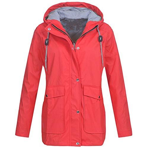 iHENGH Damen Winter Jacke Dicker Warm Bequem Parka Mantel Lässig Reißverschluss Outdoor Plus Wasserdicht mit Kapuze Regenmantel Winddicht
