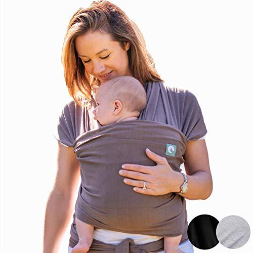 Trekki Tragetuch Baby, Babytragetuch Neugeborene, elastisches Baumwolle Sling - mit großen Vordertasche (Earth)