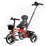 HGJINFANF Bicicletas para niños Triciclo 2-3-5-6 años de Edad Bebé Interior Ejercicio Bicicleta Plegable Doble Bicicleta Portátil Bicicleta (Color : Yellow, Size : 70x48x58cm)