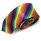 EROSPA Krawatte Halsbinde Schlips Rainbow/Regenbogen - Herren/Männer - Gay Pride LGBT