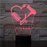 Tijera peluquería 3D led luz nocturna Barber Shop nombre Peluquería Tijera Iluminación decorativa Peluquería regalo