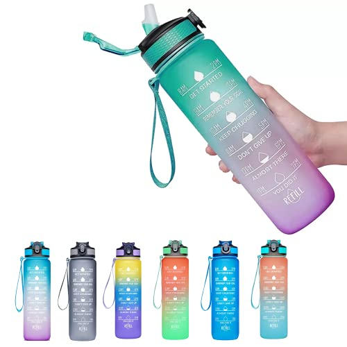 Viogor 32oz Sports Water Bottle With Time Marker & Straw,to Ensure You Drink Enough Water Throughout The Day for Fitness and Outdoor Enthusiasts, Leakproof Durable BPA Free (Green/Purple, 32oz)