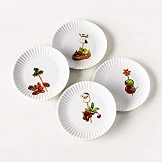 Melamine Christmas Holiday Hors DOeuvre Plates set of 4-6 inch plates