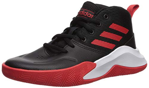 adidas unisex child Ownthegame Wide Basketball Shoe, Black/Active Red/White, 4.5 Wide Big Kid US