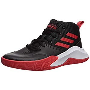 adidas OwnTheGame Wide Basketball Shoe, Black/Active Red/White, 7 US Unisex Big_Kid