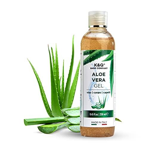 K&Q Aloe Vera Gel Puro   Crema Post Depilazione  Lenitiva  250Ml   Crema Idratante Corpo Rassodante   Condizionante per Capelli   Biologico Primitivo Scottature  