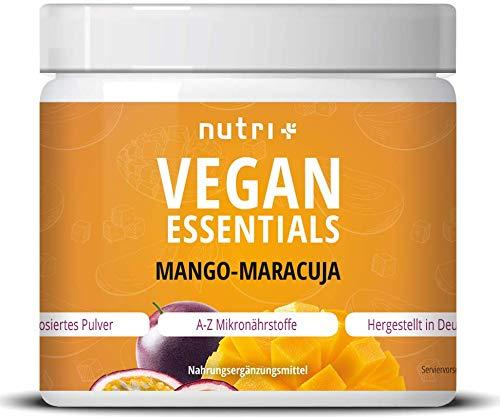VEGAN ESSENTIALS Mango-Passionfruit - Complete bereiding 300g Vitaminepoeder voor Veganisten - Nutri-Plus Daily met Vitamine B12, D3, Ijzer, Selenium, Zink - Veganistische Vitaminen + Mineralen