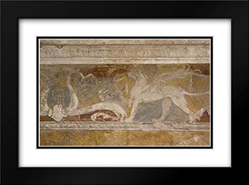Italy, Pompeii Fresco Details in The Forum Baths 38x26 Black Modern Frame and Double Matted Art Print by Kaveney, Wendy