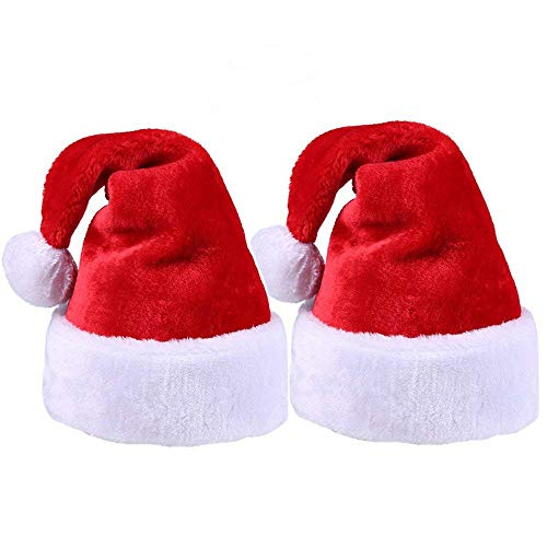 2pcs Christmas Santa Hat,Thickened Luxury Short Plush Christmas Hat Thickened Lengthened Santa Claus Cap Xmas Hat for Adults