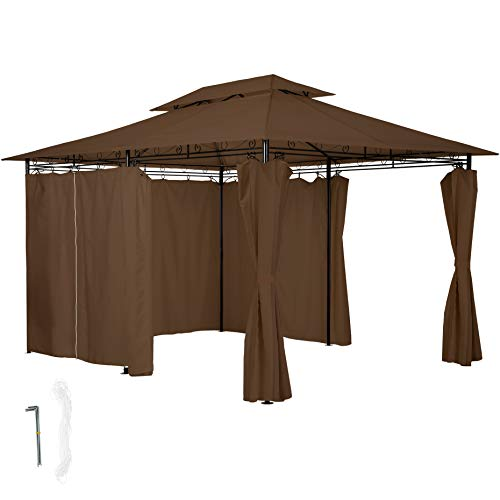 TecTake 800793 Luxury Gazebo 3x4m, Marquee Tent, Side Panels Curtains, Water-Resistant, Garden Patio Party, Outdoor Event, UV-Resistant (Brown)