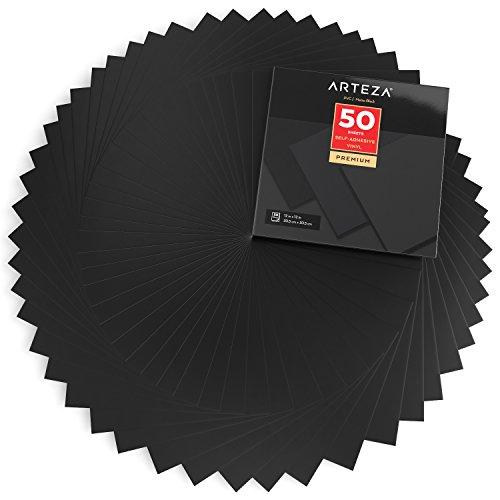 ARTEZA Selbstklebende Vinylfolie, 50 Stück, 12 x 12 Zoll (30.4 cm x 30.4 cm), mattschwarze Klebefolien, Vinylblätter zum Dekorieren und Aufkleben auf glatten Oberflächen