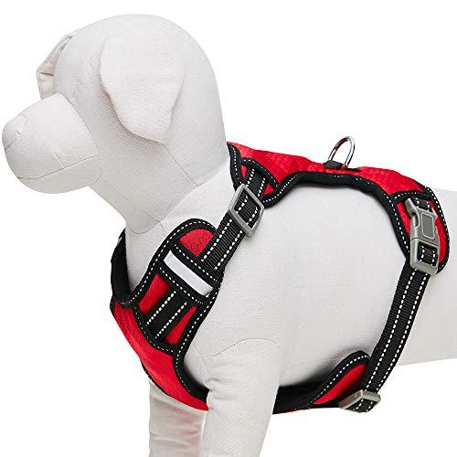 UMI. Essential - Arnés Tipo Chaleco Ajustable para Perros con Bandas Reflectantes, Talla S, Rojo