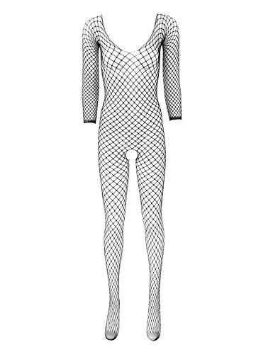 winying Damen Fischnetz Overall Jumpsuit Ouvert Dessous Langarm Bodysuit Durchsichtig Ganzkörperanzug Strumpfhose Nachtwäsche Schwarz One Size