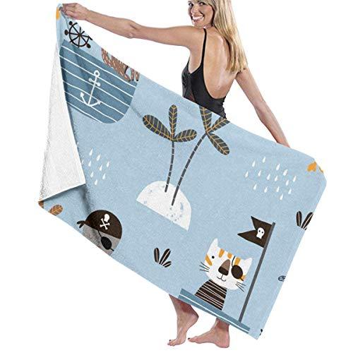 Toalla de baño de Playa, patrón Infantil sin Costuras con Pulpo Catmonkey para SPA, Piscina, baño, Arena, algodón