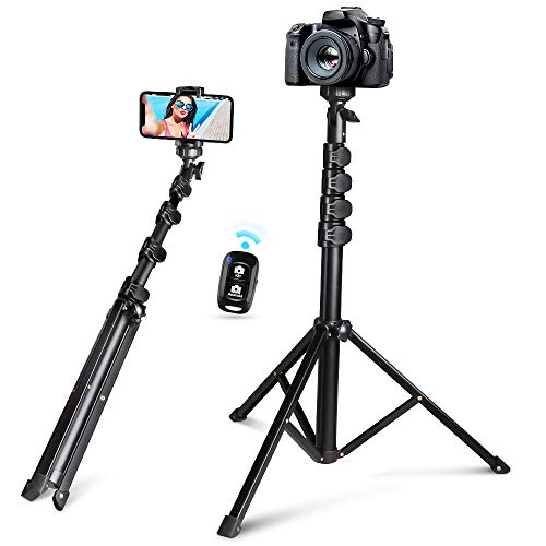 "62"" Selfie Stick Tripod, Integrated, Torjim Portable Phone Tripod with Phone Holder, Bluetooth Remote for iOS & Android, Tripod Stand Perfect for Camera & GoPro with 360°Tripod Head and GoPro Adapter"