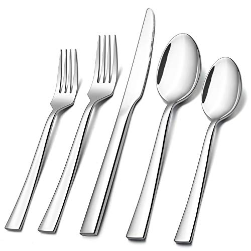 20-Piece Silverware Set, E-far Stainless Steel Flatware Set Service for 4, Modern Tableware Cutlery Set includes Forks, Spoons, Knives, Square Edge & Mirror Finish, Dishwasher Safe
