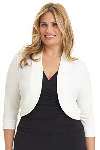 Rekucci Women's Curvy Fit Plus Size Rounded Hem Stretch Bolero Shrug (2X,Off White)
