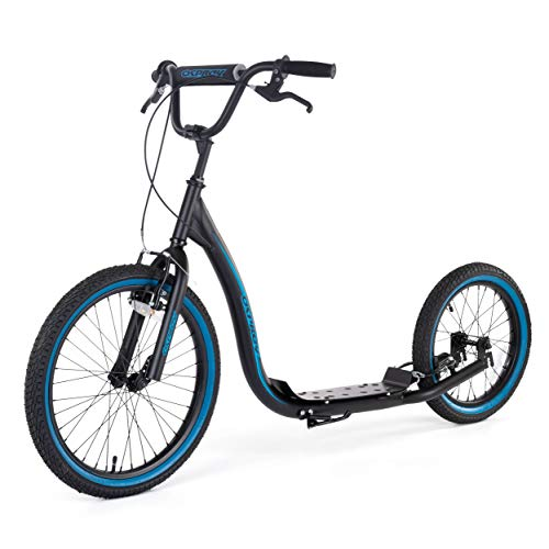 Osprey BMX Adult Scooter with Big Wheels, Bike Bicycle Off Road Scooter With Adjustable Handlebars and Calliper Brakes, Black