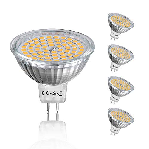 4W MR16 LED Lampe Birne GU5.3/GX5.3 Sockel 12V Lampe Beleuchtung 400Lumen 360° Abstrahlwinkel Warmweiß 3000K wie 50 Glühbirne Ersatz(5- Stück Nicht Dimmbar)