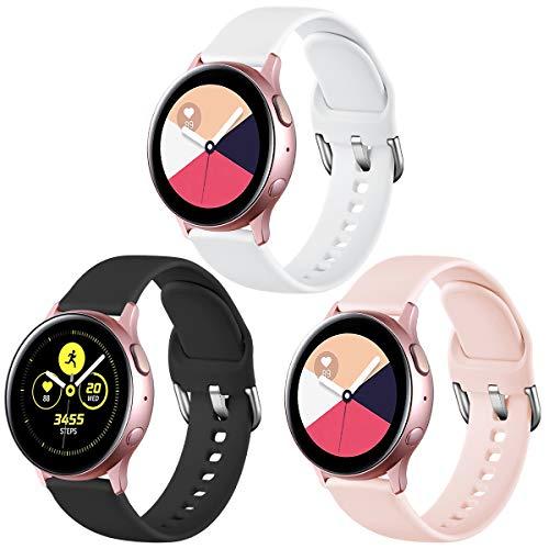 Vobafe 3 Stück Armband Kompatibel mit Samsung Galaxy Watch Active/Active 2 (40mm/44mm), Weiches Silikon Armbänder Ersatzarmband für Galaxy Watch 3 41mm/Gear Sport, L Schwarz/Weiß/Rosa