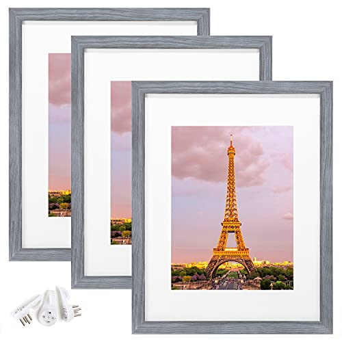 upsimples - Marco de fotos (8.1 x 11.0in, 3 unidades), color gris ceniza