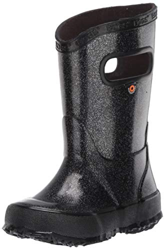 BOGS unisex child Rainboot Print Waterproof Rain Boot, Glitter - Black, 3 Little Kid US