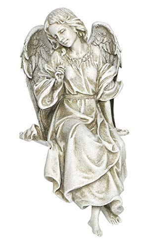 Joseph's Studio by Roman - Sitting Angel Statue, 12.75' H, Memorial Garden Collection, Resin and Stone, Decorative, Religious Gift, Home Outdoor and Indoor Decor, Durable, Long Lasting
