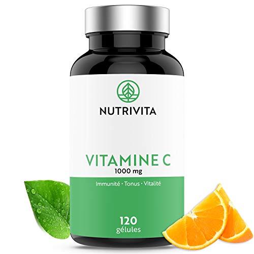 Vitamina C 1000 mg | Tono y Vitalidad | Vitamina C Pura Quali-C (Ácido L-Ascórbico) | 120 cápsulas | Fabricado en Francia | Nutrivita