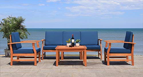 Safavieh Outdoor Collection Parcer Natural and Navy 4-Piece Patio Set