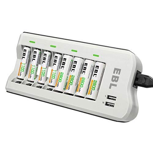 EBL Chargeur de Piles 8 Slots, avec 4PCS AA Piles Rechargeables 2800mAh+ 4PCS AAA 1100mAh, pour...