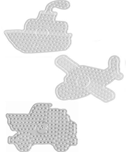 Hama Maxi Perlen - Beutel mit Stiftplatte 8212 Schiff , 8217 Brummi und 8216 Flugzeug