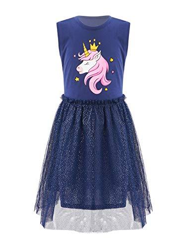 JEATHA Vestidos de Verano para nias Vestido de tut de Manga Corta para nias Azul 3-4 aos
