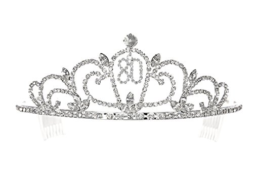 Birthday Party Rhinestone Crystal Tiara Crown - 80th Eighty Eightieth T1193
