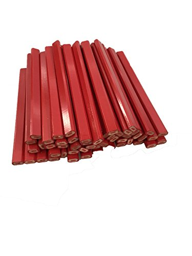 Flat Wooden Red With Red Lead Carpenter Pencils - 72 Count Bulk Box Made In The USA …