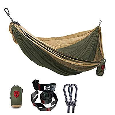 GRAND TRUNK Print Hammock - Double Hammock for Indoor and Outdoor Adventures, Camping, Hiking, and The Beach - Tree Hanging Kit Included, Two-Toned Colors (Olive Green/Khaki)
