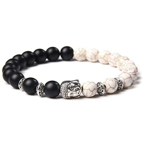 KEJI Classic Silver Color Buddha Bead Chakra Bracelet Natural Stone White Blue Turquoises Beads Stretch Prayer Bracelet For Women Men