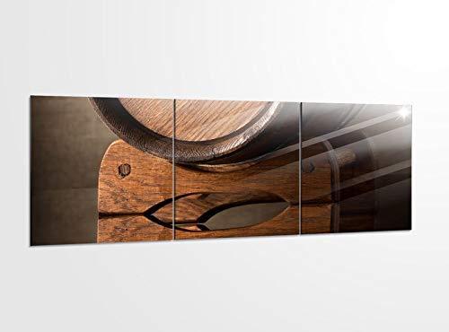 Acrylglasbilder 3 Teilig 150x50cm altes Holzfass Weinfass Faß braun_ Acrylbild Bilder Acrylglas Wand Bild Kunstdruck 14?5328, Acrylglas Größe 6:BxH Gesamt 150cmx50cm