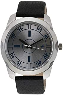 Fastrack Bare Basic Men's Silver Dial Leather Band Watch - T3123SL01