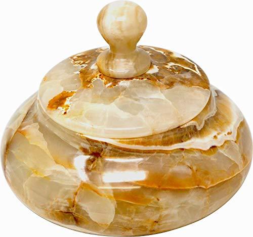 Bonboniere aus dem Halbedelstein Onyx Marmor, 15 cm Handarbeit Schale Naturstein Gestein