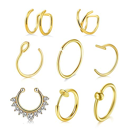 AVYRING 8PCS 20G Stainless Steel Fake Nose Ring Hoop Clip On Cuff Earrings Cartilage Septum Ring Tragus Ear Faux Piercing Body Jewelry - Gold
