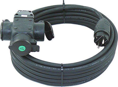 netbote24® Schuko-Verlängerungskabel mit 3-Fach Kupplung H07RN-F 3x2,5 mm² (IP44 - Außenbereich) AC 230V/16A 5-50m (15m)