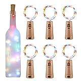 Luz de Botella, Yizhet 6 Piezas 2m 20 LED Corcho Botella Luces Luz Botellas Vino Tapon Cadena Luz de Botella Cobre Alambre Guirnaldas Luminosas Decorativas para Boda Navidad Fiesta (Multicolor)