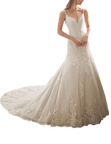 HUINI Brautkleider Spitze Lang mit Spaghettiträger Hochzeitskleider Abendkleider Trompete Rückenfrei mit Schleppe Elfenbein 32