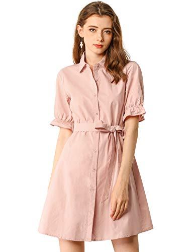 Allegra K - Abito da donna casual a maniche corte, in cotone, tinta unita, con bottoni, con cintura rosa 40