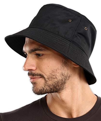 Black Bucket Hat for Women & Men - Large UV Protection Sun Hat UPF 50 for Fishing, Safari, Beach, Boating & Golf (Black)